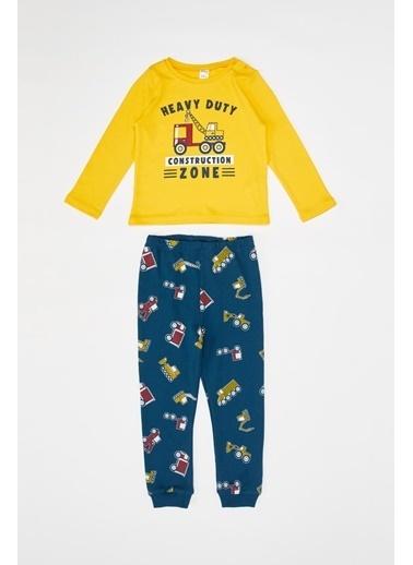DeFacto Erkek Bebek Baskılı Pijama Takımı Sarı